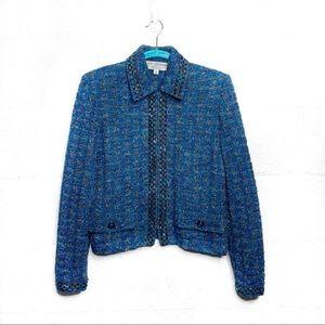 St. John Collection Blue Boucle Full Zipper Blazer